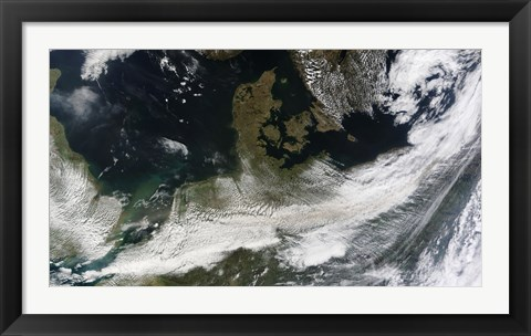 Framed Ash Plume from Eyjafjallajokull Volcano over Northern Europe Print