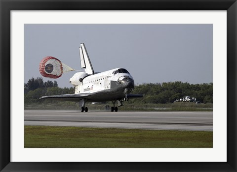 Framed With Drag Chute Unfurled, Space Shuttle Discovery Lands on Runway 33 Print
