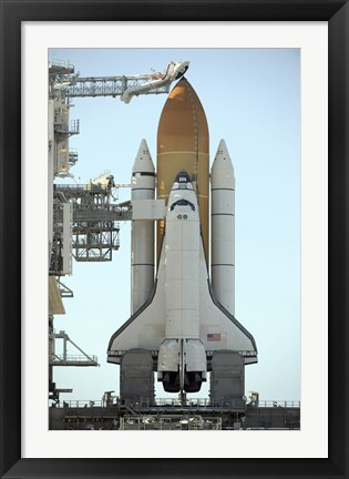 Framed Space Shuttle Atlantis Sits on the Launch Pad at the Kennedy Space Center in Anticipation of its upcoming Launch Print