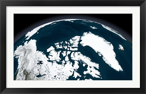 Framed View over Greenland and the Arctic Ocean Print