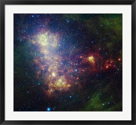 Framed Infrared Portrait Revealing the Stars and Dust of the Small Magellanic Cloud Print