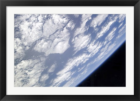 Framed Blue and White part of Earth and the Blackness of Space Viewed from the Earth-Orbiting Space Shuttle Atlantis Print