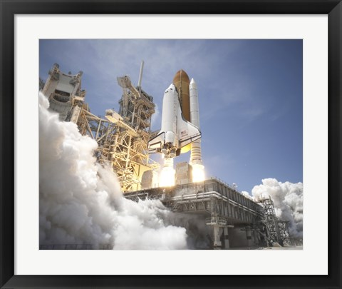 Framed Exhaust Plume Forms Under the Mobile Launcher Platform Print