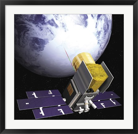 Framed Artist's Concept of the Ice, Cloud, and Land Elevation Satellite, also referred to as ICEsat Print