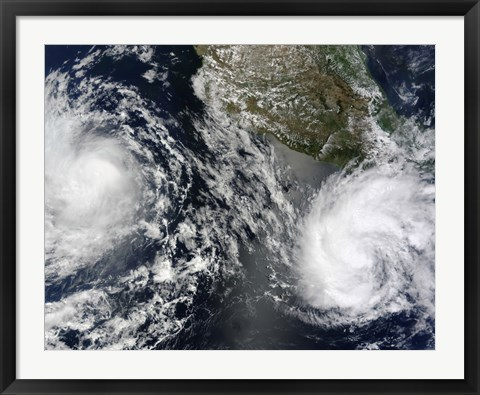 Framed Tropical Storms Blas and Celia Circulate in Close Croximity to Each other in this Satellite view Print