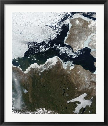 Framed Satellite View of Northwest Canada Print