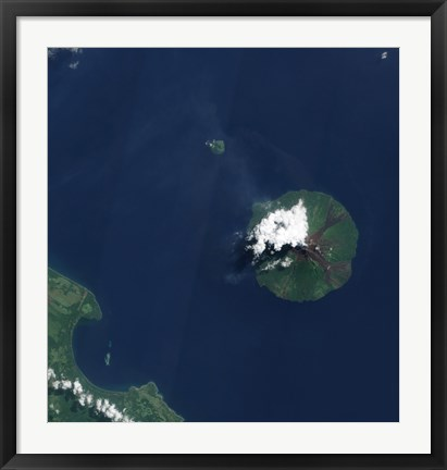 Framed Papua New Guinea's Manam Volcano releases a thin, Faint Plume over the Bismarch Sea Print