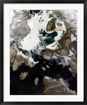 Framed Sea Ice and Sediment Visible in Nunavut, Canada Print