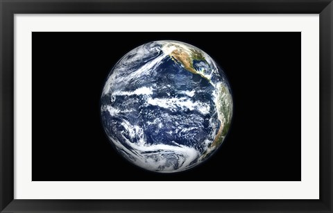 Framed View of Full Earth Centered over the Pacific Ocean Print