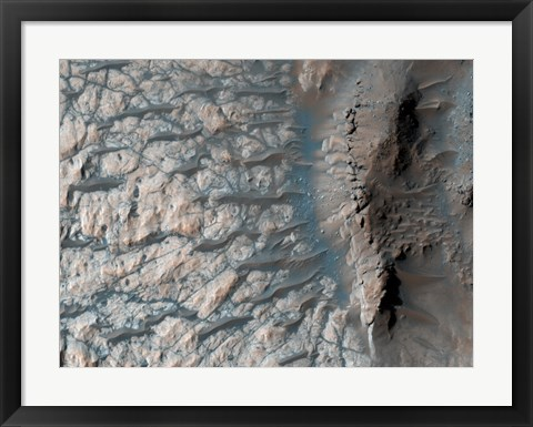 Framed Part of the Floor of a Large Impact Crater in the Southern Highlands on Mars Print