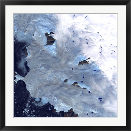 Framed Small Field of Glaciers Surrounds Baffin Bay along Greenland's Western Coast Print