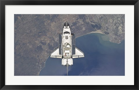 Framed Space Shuttle Atlanti Flying Above the Atlantic coast of Spain and the Gulf of Cadiz Print