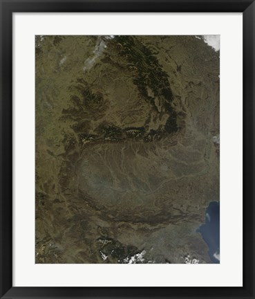 Framed Satellite view of the Carpathian Mountains in Romania Print