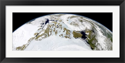 Framed Partial view of Earth showing Northern Canada and Northern Greenland Print