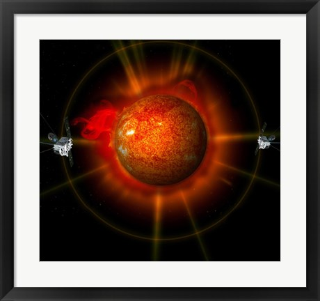 Framed artist's Concept of the STEREO spacecraft Surrounding the Sun Print