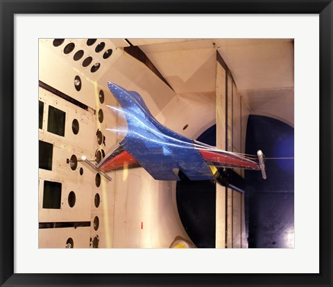 Framed Active Flexible Wing Model Undergoing Tests in a Wind Tunnel Print