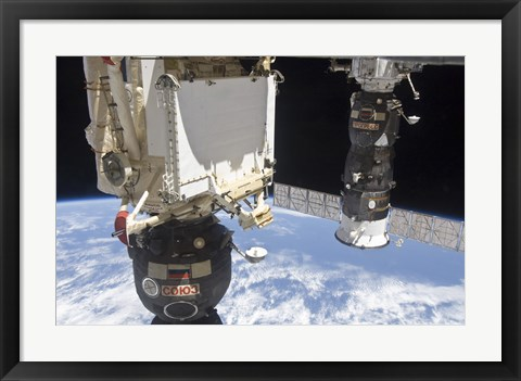 Framed Soyuz TMA-19 Spacecraft and the Progress 37 Resupply Vehicle Print