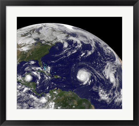 Framed Three Tropical Cyclones Active in the Atlantic Ocean Basin Print