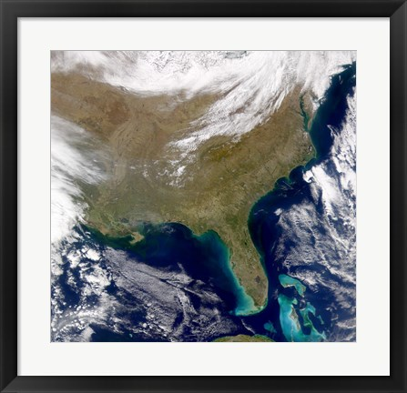 Framed Satellite view of the Southeastern United States Print