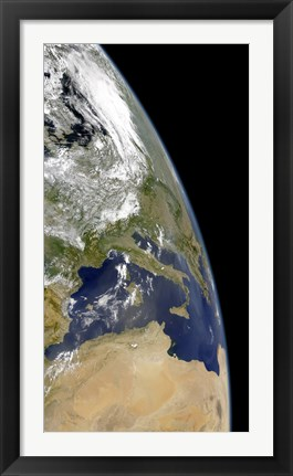 Framed View of the Western Mediterranean with Visible Smoke in the Balkans and Dust from the Sahara desert Print