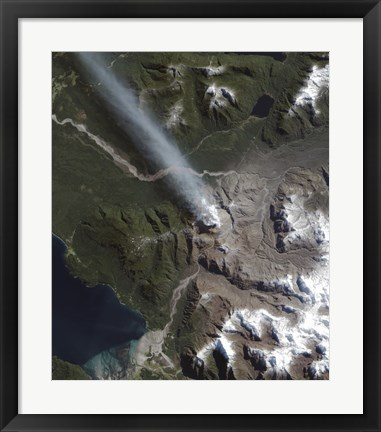 Framed Natural Color view of the Chaiten Volcano Print
