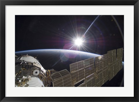 Framed International Space Station Backdropped by the Bright Sun over Earth's Horizon Print