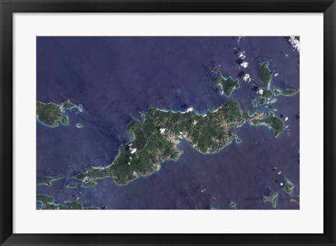 Framed True-color Image of Tortola and its Smaller Neighbors, Guana Island, Grand Camanoe, and Beef Island Print