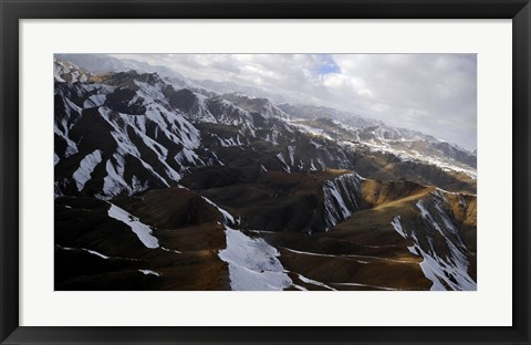 Framed Aerial view over Mountains in Afghanistan Print