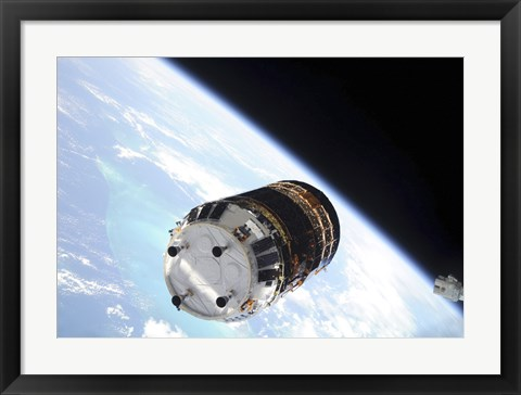 Framed Japanese H-II Transfer Vehicle backdropped by Earth's Horizon Print