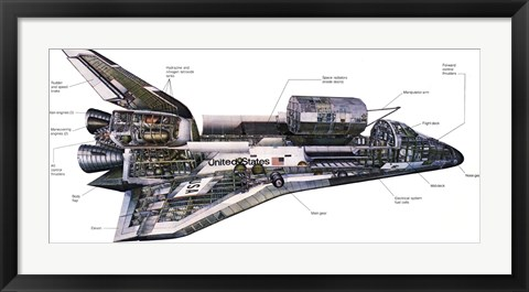 Framed Illustration of an Orbiter cutaway view of a Space Shuttle Print