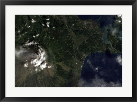 Framed Satellite view of Mayon Volcano Emitting a Thin Volcanic Plume Print