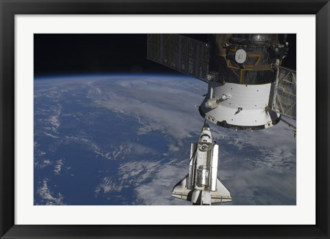 Framed Space Shuttle Endeavour as it Approaches a Docked Russian Spacecraft Print