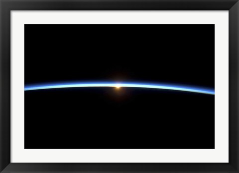 Framed Thin line of Earth's Atmosphere and the Setting Sun Print
