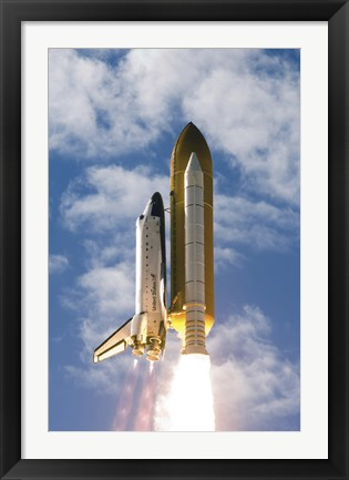 Framed Space Shuttle Atlantis Lifts off from its Launch Pad Print