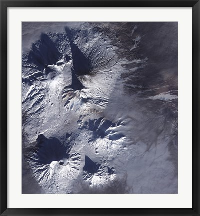 Framed Bezymianny Volcano Exhibits a Modest Plume Print