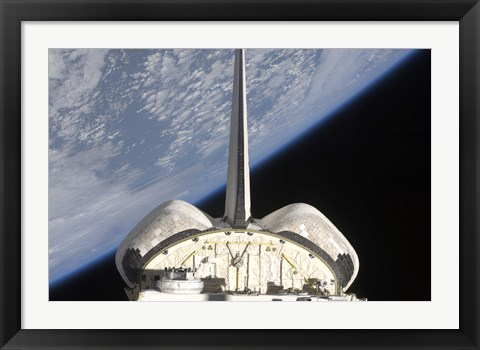 Framed partial view of Space Shuttle Endeavour Backdropped by Earth's horizon Print
