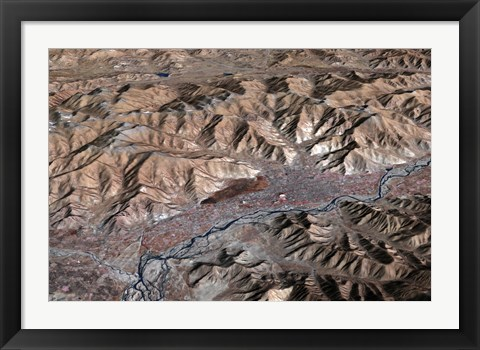 Framed Three-Dimensional view of the Landscape of Lhasa, Tibet Print
