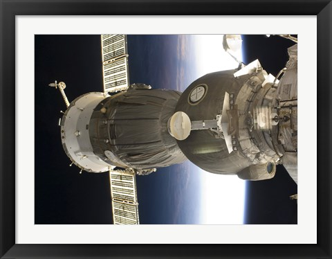 Framed Soyuz spacecraft backdropped by Earth Print