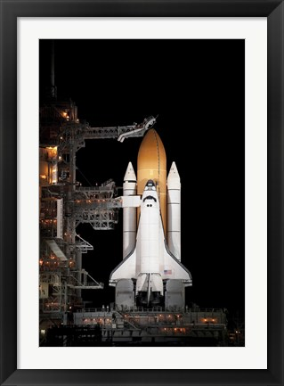 Framed Space shuttle Atlantis Sits Ready on its Launch Pad at Kennedy Space Center, Florida Print