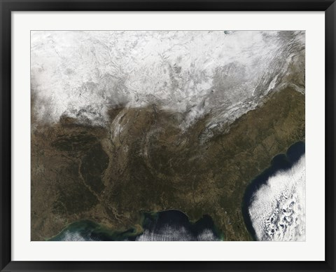 Framed Snow Cover over the United States Print