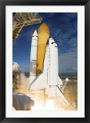 Framed Space Shuttle Atlantis Lifts off from  Space Center, Florida Print