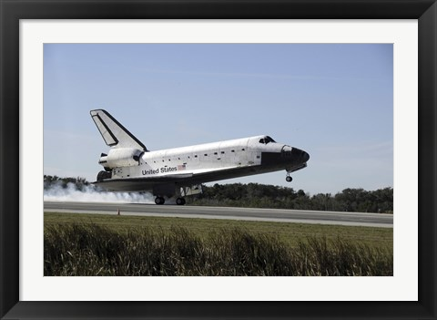 Framed Space Shuttle Atlantis Touches Down at Kennedy Space Center, Florida Print