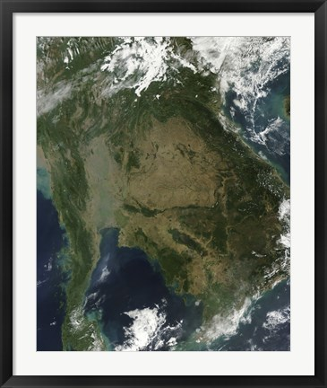 Framed Satellite view of Indochina Print