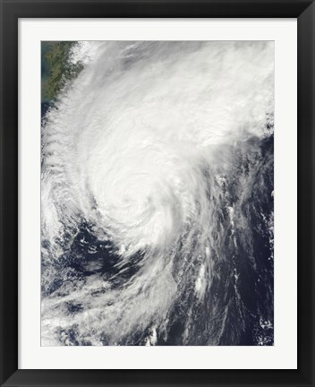 Framed Typhoon Melor approaching Japan Print