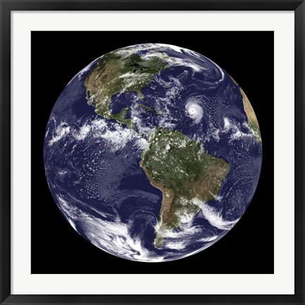 Framed Full Earth Showing North America and South America Print