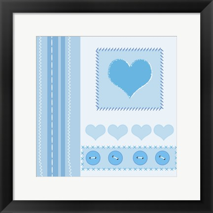 Framed Button Heart I Print