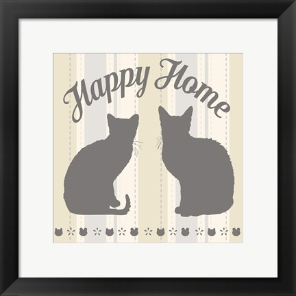Framed Happy Home Cats Print