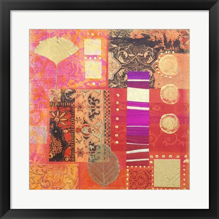Framed Pink Pattern Collage Print