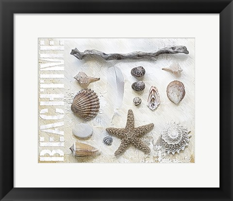 Framed Sea Shell Collage I Print