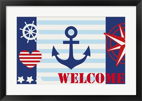 Framed Maritime Stripe Welcome Print